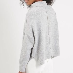 Topshop back zip grey turtleneck sweater NWOT